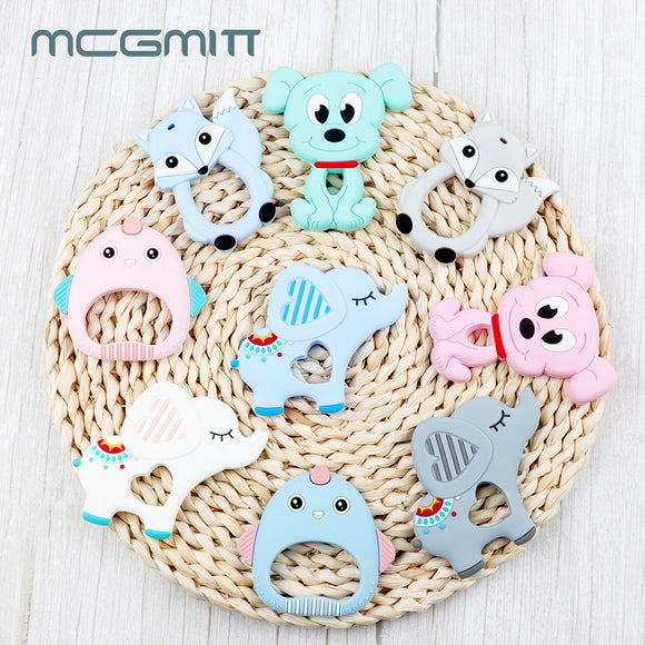 MCGMITT 1pc Baby Teether Food Grade Silicone modeling Bpa Free Cartoon Teether Chewable Soft Baby teething Nursing Toys