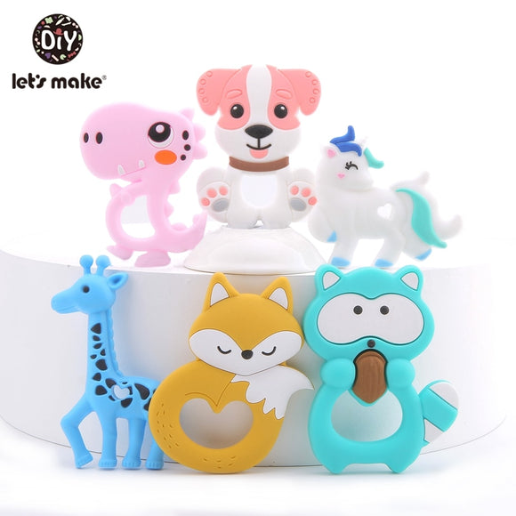 Let'S Make 1Pc Silicone Animal Teether Making Baby Rattles Charms For Stroller Accessories Toy Bpa Free Silicone Baby Teether
