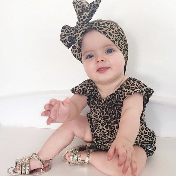Cute Newborn Infant Baby Clothes Girl Leopard Romper Headwear 2 pcs Sets Girls Clothing