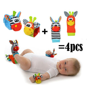 2017 Lowest price(4pcs/lot=2 pcs waist+2 pcs socks) New Hot Toy Baby Rattle toy Rattle Foot Socks Cute Anima Wrist Free shipping