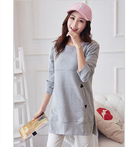 Maternity Tee Shirts Loose Nursing Clothes Tops for Pregnant Breastfeeding T-Shirt with Pockets Pregnancy Clothing B0319