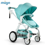High-view Folding Stroller for 0-36 Months Baby Sitting & Lying, Two-way Pushchair  Pram, Pneumatic & Suspension Wheels