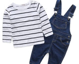 Mother & kids Striped baby boy clothes newborn long sleeve t-shirt + denim overalls newborn clothes casual baby clothing set