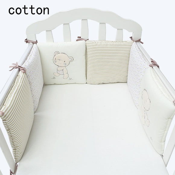 Cute Bear Design Cotton Infant Baby Crib Bumper Bed Protector Soft Baby Kids Cot Nursery Bedding Bear Bumper