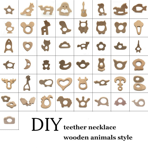 DIY Baby Gym Toys Wood Necklace Pendant Food Grade Wooden Teether Toys Tortoise Koala Whale Turtle Wooden Teething Toys