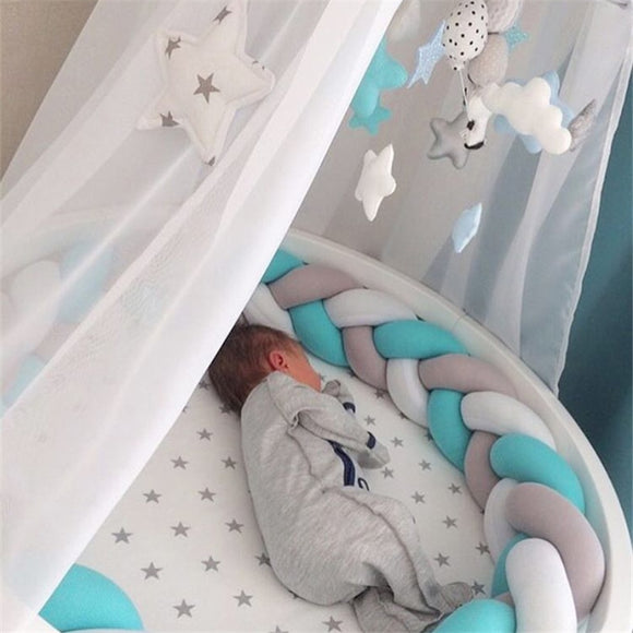 2M/3M Baby Crib Protector Knot Baby Bed Bumper Weaving Plush Infant Crib Cushion For Newborns Nursery Bed Bumper Room Decor