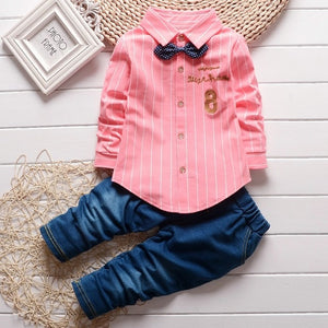 Baby Boy Clothes 2018 Korean Leisure Striped Long Sleeved Shirts Tops + Jeans 2PCS Infant Clothing Kids Bebes Jogging Suits