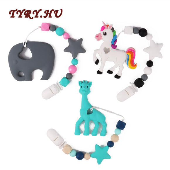 TYRY.HU 1PC Elephant Giraffe Horse Baby Teething Necklace Materials Food Grade Silicone Teether Beads BPA Free for Baby Gift Toy