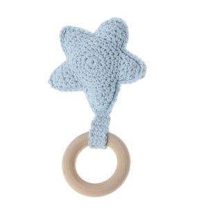1pc Baby Teething Ring Chewie Teether Safety Wooden Natural Star Sensory Toy Gift