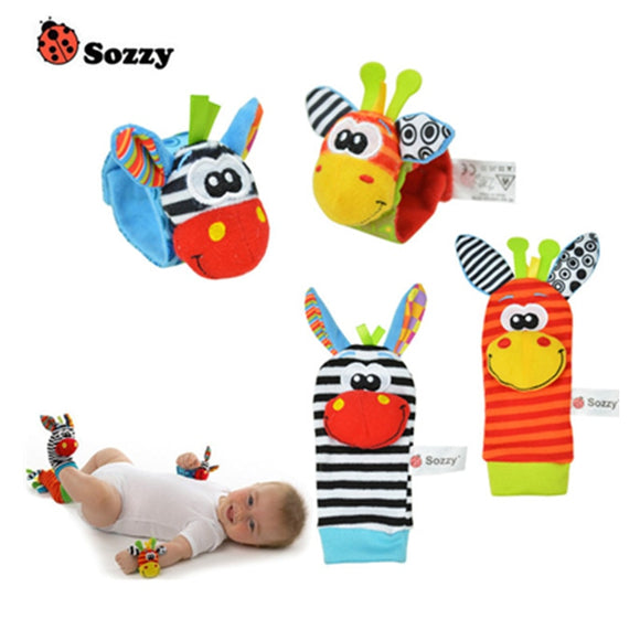 Newborn Baby Socks for Boy Girls Infant Multicolor Animal Foot Socks Bebe Cartoon Wrist Strap Rattle Toys 0-12 Months