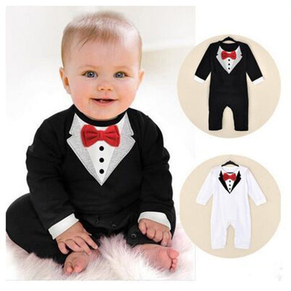 Baby Boy Romper Infant Toddle baby Suit Little Gentleman Clothing with bow tie Baby Jumpsuit bebe Kids Clothing Jumpsuits