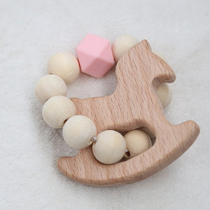 Baby Nursing Bracelets Wood Teether Silicone Beads Teething Wood Rattles Toys Baby Teether Bracelets Nursing Toys Gift