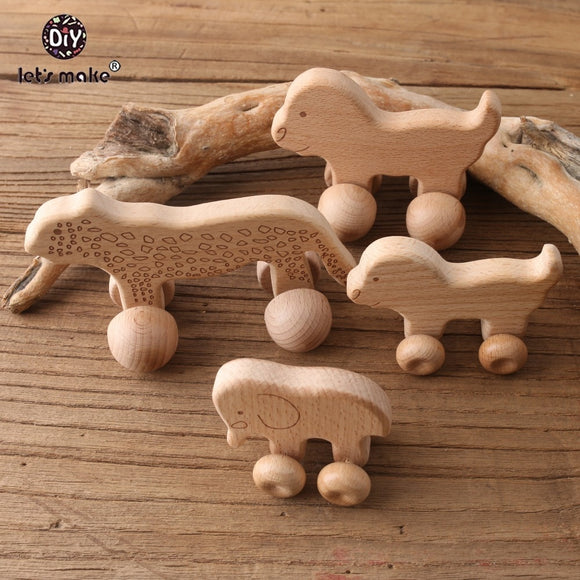 Let's Make Beech Wooden Animals 1pc Dogs Car Cartoon Elephants Montessori Toys For Children Teething Nursing Baby Teethers
