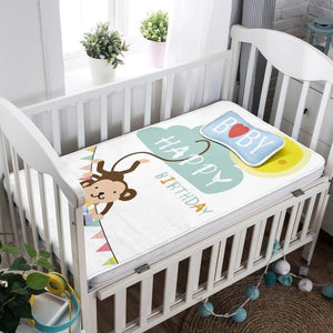 2Pcs Summer Baby Sheet Pillow Sets Breathable Cartoon Knit Ice Silk Newborn Bed Mat Kit Baby Crawling Mattress Bedding