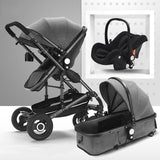 Luxury Baby Stroller 3 In 1 With Car Seat High Landscape Pram For Newborns Travel System Black Trolley Walking Foldable Carriage