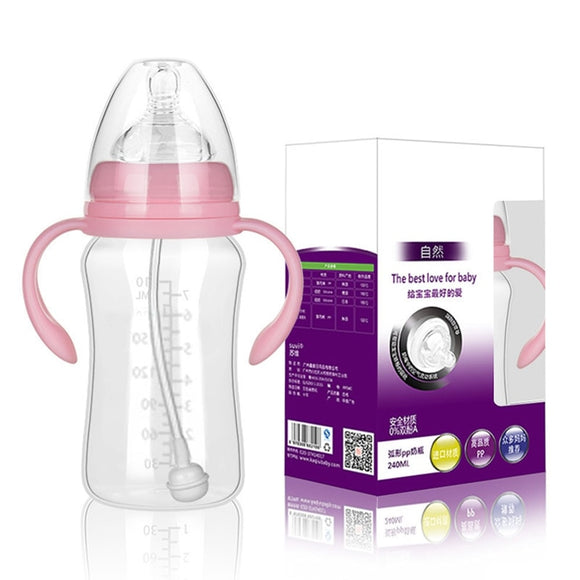 300ML 240ML 180ML Baby Infant PP BPA Free Milk Feeding Bottle With Anti-Slip Handle & Cup Cover Water Bottle