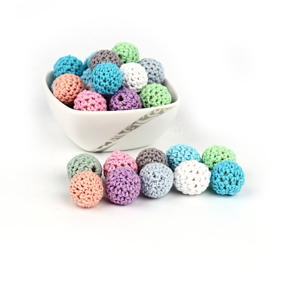 100pcs Baby Nursing Teether Crochet Beads 16mm Teeth Nursing Pacifier Teething Beads Teething Wood Rattles Toys Nursing Gift
