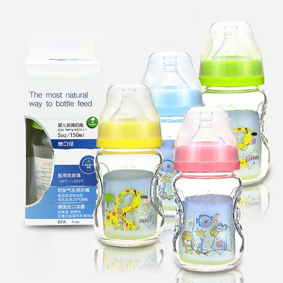 150Ml Baby Bottle Kids Children Learn Feeding Bottle Drinking Water Milk Glass Cartoon Cute Baby Feeding Bottle