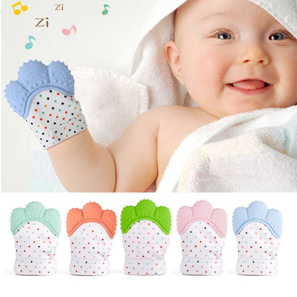 Baby Silicone Mitts Teething Mitten Glove Sound Teether Newborn Chewable Nursing Mittens Teether Natural stop Sucking Thumb Toy