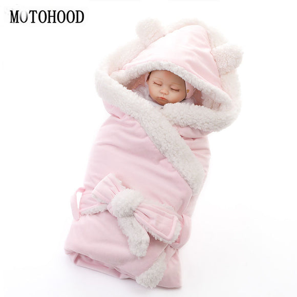 MOTOHOOD Winter Baby Boys Girls Blanket Wrap Double Layer Fleece Baby Swaddle Sleeping Bag For Newborns Baby Bedding Blanket