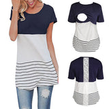 CHAMSGEND 100%Cotton Maternity Clothing T-shirt summer Lace Splice Pregnant Nursing Baby For Maternity Pajamas Blouse Top Jan 28
