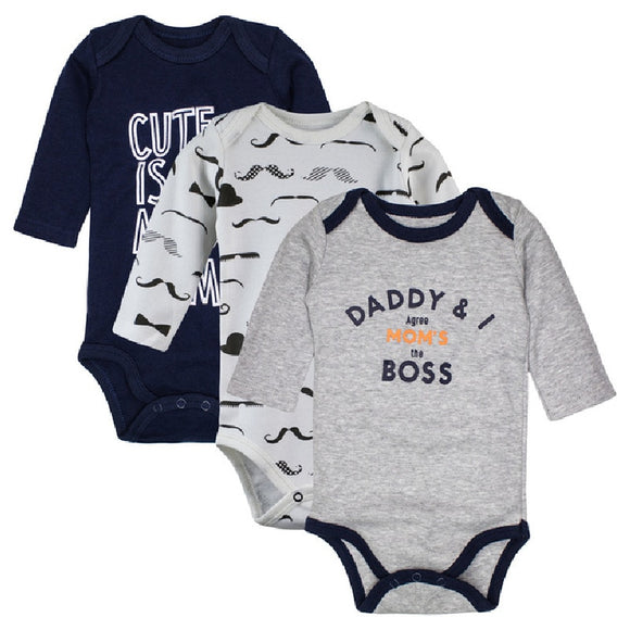 3pieces/lot Cotton Baby Bodysuits Spring Autumn Boys Clothing Long Sleeve Underwear Infant Pajamas Clothes girls jumpsuit 0-24M