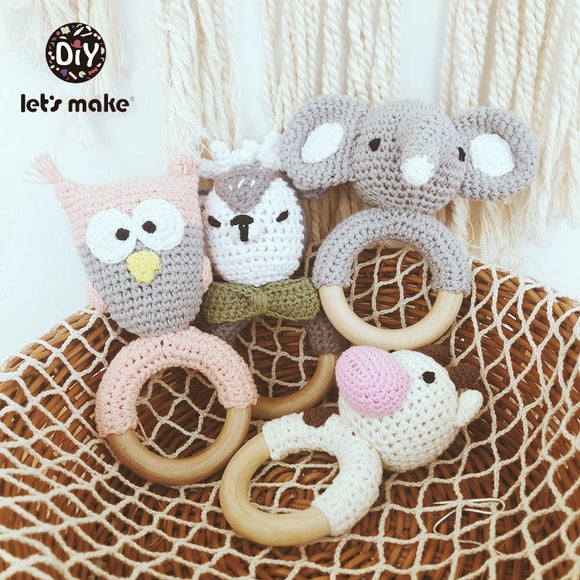 Baby Toys 1pc Wooden Teether Crochet Pattern Rattle Elephant Bell Toy Newborn Amigurumi Teether Knitted Rattles Gift Let's Make