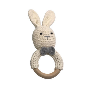 Newborn Sensory Toy Baby Wooden Teether Bracelet Crochet Bunny Teething Ring Chewing Toy Teething Bracelet Shower Gift