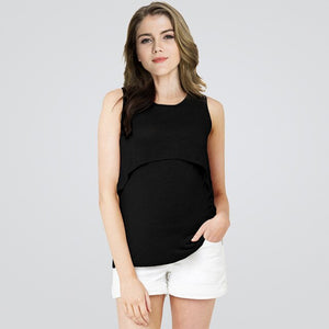2019 Summer Maternity Nursing Tank Clothes Black Breastfeeding t-shirt For Pregnant Women Pregnancy Nurse Wear Cotton Clothing
