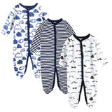 3pcs Baby Girl Boy Clothes Footed Rompers Comfortable Newborn Pajamas Cartoon Printed Infant Jumpsuit Romper Girls Clothing set