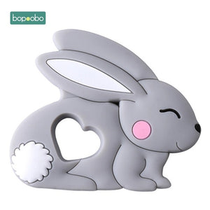 Bopoobo 1pc Baby Teether Silicone Rabbit Food Grade Bunny Teether Nursing Teething Necklace Accessories Silicone Animal Teether