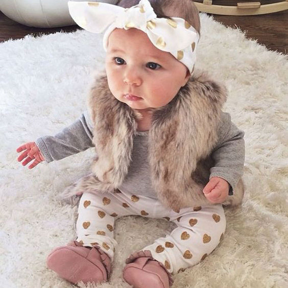 Newborn Baby Bebe Infant Girl Clothes Long Sleeve Gray Red Heart Tops Goldden Love Pants Headband 3Pcs Baby Girls Clothing Sets
