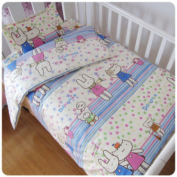 Promotion! 3PCS Cotton Crib Baby Bedding Set Baby Nursery Cot Ropa de Cama ,include:(duvet cover+sheet+pillowcase)