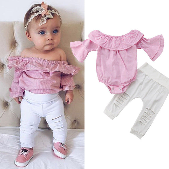2PCS Newborn Infant Baby Girls Clothing Set Pink Off Shoulder Romper +White Ripped Jeans Pants Outfits