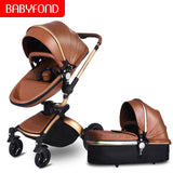 Babyfond baby strollers 3 in 1 EU high quality safety 2 in 1 baby strollers with car seat leather aluminium alloy frame brand