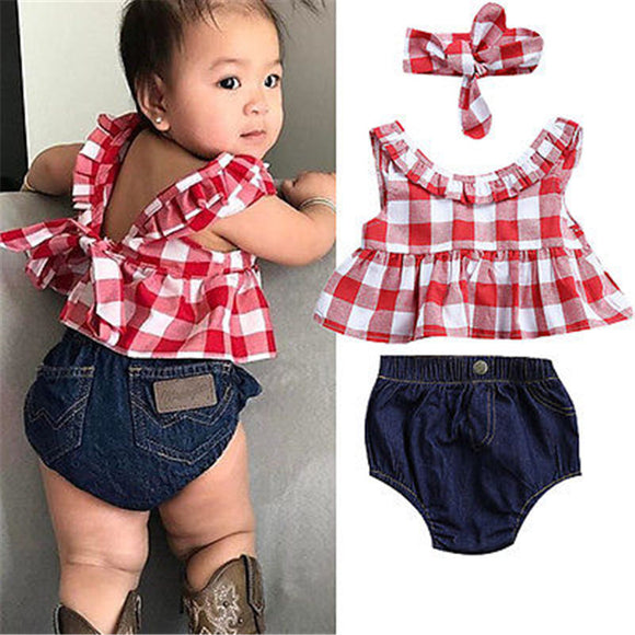 Pudcoco Hot Sale Summer Baby Girl 3Pcs Outfits Clothes Set Fashion Sleeveless Tops+Denim Pants+Headband for Girls