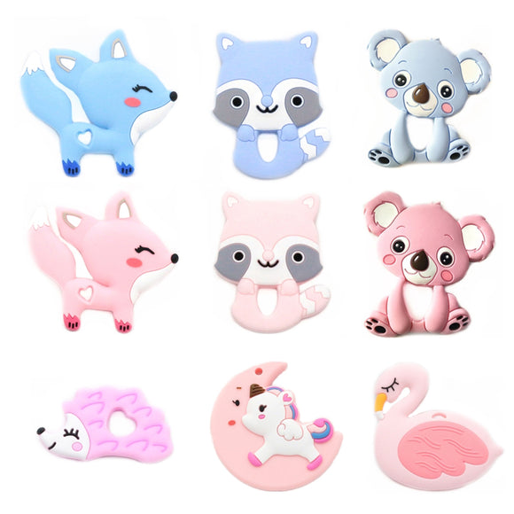 Cute Animal Baby Teether Silicone Teether Teething Necklace Pendant Soft Silicone Beads BPA Free Baby Chew Toy Bijtring Toys