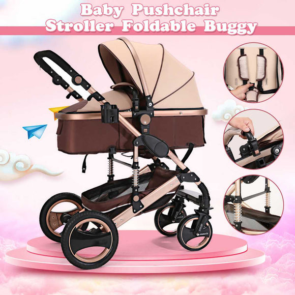 Baby Stroller 8 in 1 Four Wheel Stroller Lying Folding Light Weight Child Four Seasons Stroller Carriage Travel Pram Pushchair