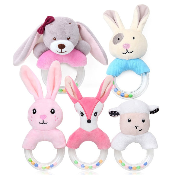 Cute Plush Baby Pram Cart Toys Cartoon Baby Rattle Toy for Newborn Mobile Educational Toy Hand Bells Stroller Accessories