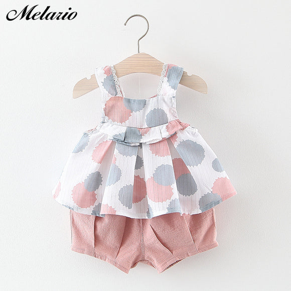 Melario Baby Clothing Sets 2019 Girls Newborn Dress Clothes New Cute Sleeveless Girl Dress + PP Pants infant Clothing Sets Kids