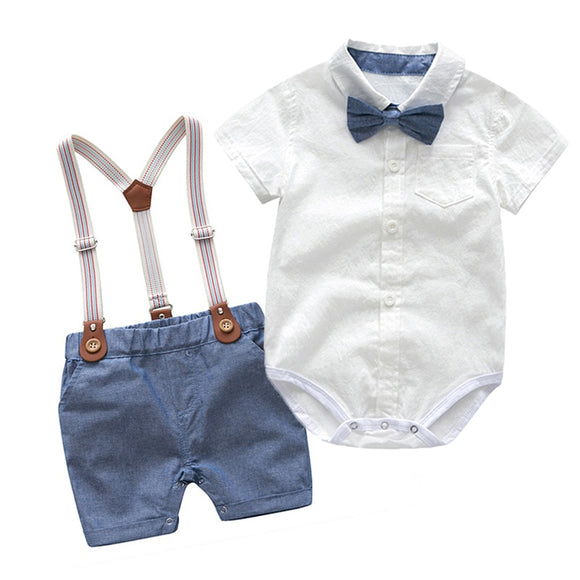 Toddler Boys Clothing Set Newborn Gentleman Suit Kids Short Sleeve Bow Tie Shirt+Suspender Shorts Casual Summer Baby Boy Clothes