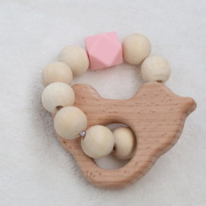 1pc Nursing Baby teether Teething Natural Wood Ring Silicone Beads Hand Weave Bracelet Organic Infant Neutral Gift Toys