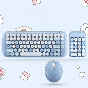 Notebook Office 3 in 1 Mini 2.4G Wireless Keyboard Mouse and Number Pad Round Set