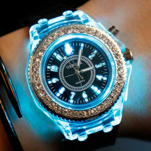 LED Sport Watches Geneva Luminous Wristwatches Glowing 8 Colors