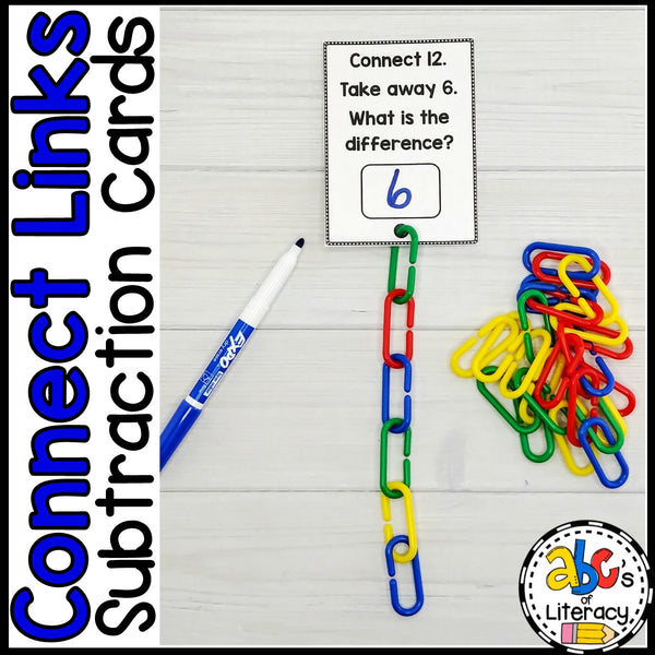 Connect Links Subtraction Task Cards