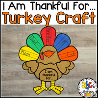 """I Am Thankful For.."" Turkey Craft and Writing Activity"