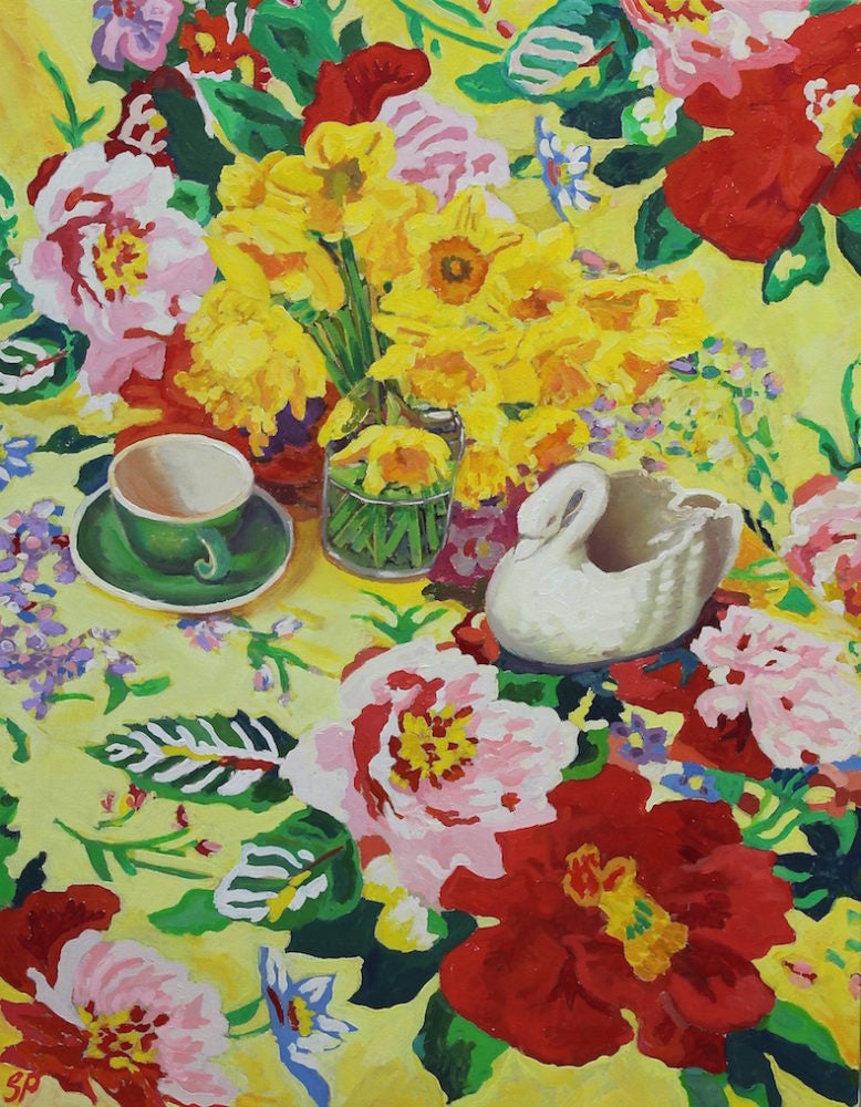 Daffodils, Coffee cup and Porcelain Swan (SOLD)