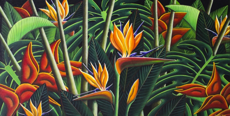 Bird of Paradise & Heliconia (SOLD)