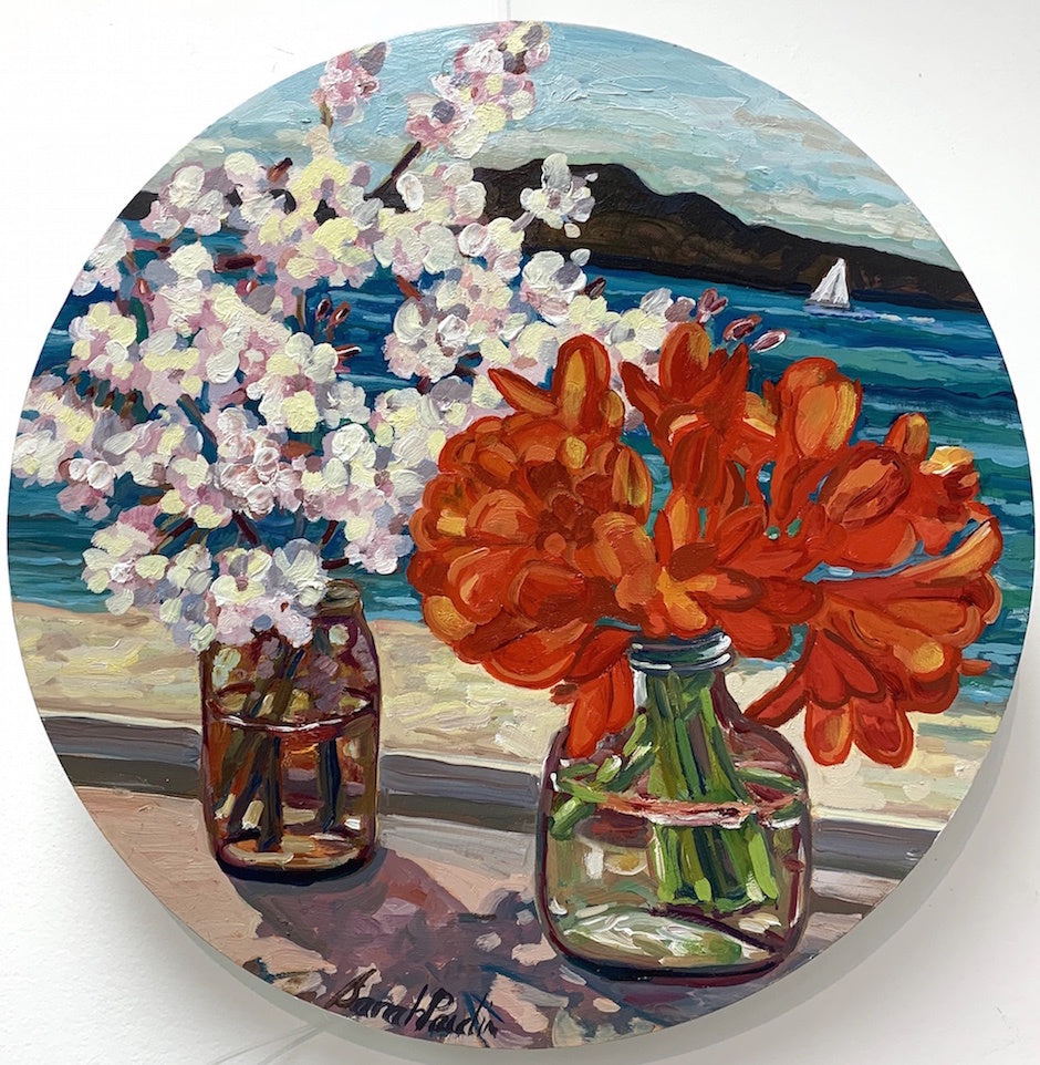 Spring Time in Auckland, Cherryblossom and Clivia (SOLD)