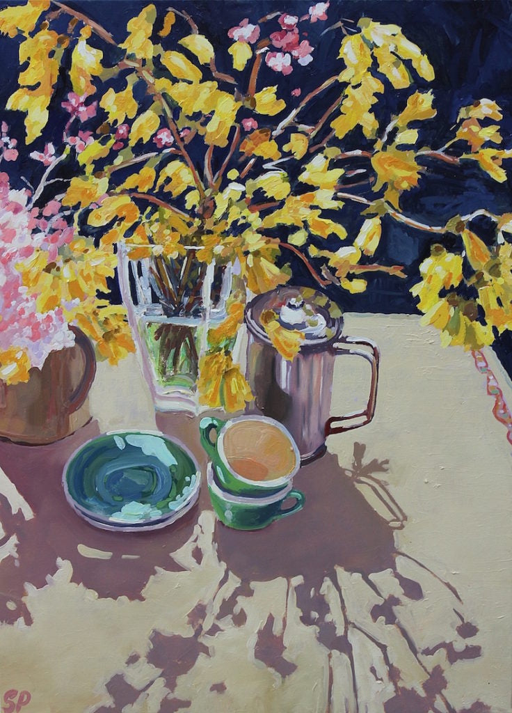 Coffee time with Kowhai & Cherry Blossom (SOLD)
